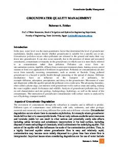 groundwater quality management