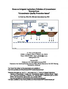 Groundwater Quality Protection Issues - G. Fred Lee & Associates