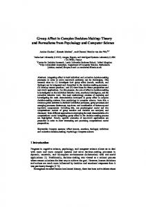 Group Affect in Complex Decision-Making: Theory