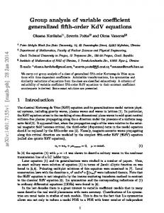 Group analysis of variable coefficient generalized fifth-order KdV ...