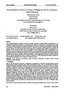 Group Dynamics and Peer-Tutoring a Pedagogical Tool for ... - ERIC
