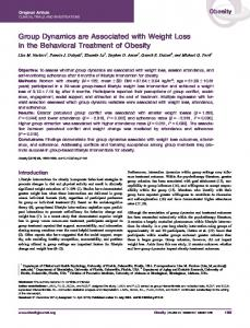 Group Dynamics are Associated with Weight ... - Wiley Online Library