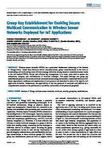 Group Key Establishment for Enabling Secure ...