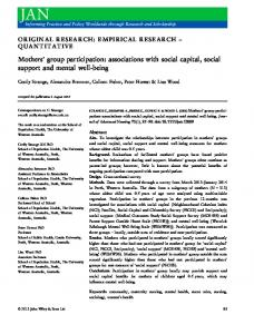 group participation: associations with social capital, social support and ...