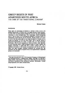 group rights in post- apartheid south africa - CiteSeerX