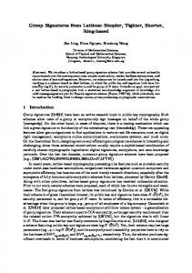 Group Signatures from Lattices - Cryptology ePrint Archive
