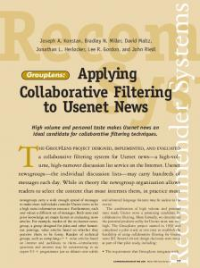 GroupLens: applying collaborative filtering to ... - ACM Digital Library