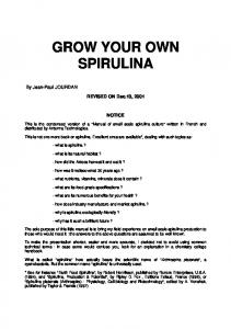 grow your own spirulina
