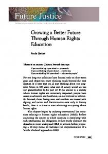 Growing a Better Future Through Human Rights ... - Future Leaders