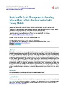 Growing Miscanthus in Soils Contaminated with Heavy Metals
