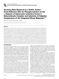 Growing Rats Respond to a Sulfur Amino Acid ... - Journal of Nutrition
