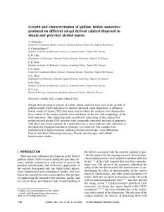 Growth and characterization of gallium nitride ...