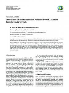 Growth and Characterization of Pure and Doped L-Alanine Tartrate ...
