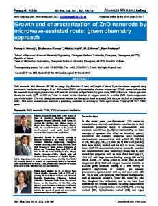 Growth and characterization of ZnO nanorods by ... - Semantic Scholar