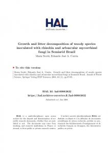 Growth and litter decomposition of woody species inoculated ... - Hal
