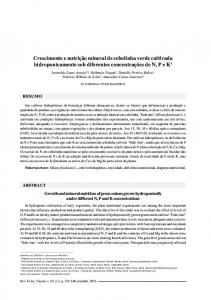 Growth and mineral nutrition of green onions grown hydroponically