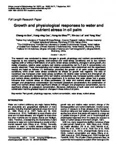 Growth and physiological responses to water and nutrient ... - YIC-IR