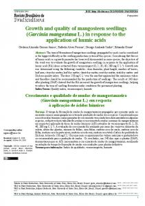 Growth and quality of mangosteen seedlings (Garcinia ... - SciELO