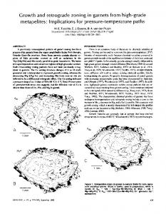 Growth and retrograde zoning in garnets from high-grade metapelites ...