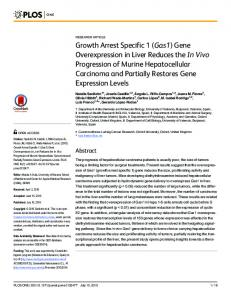 Growth Arrest Specific 1 (Gas1) Gene Overexpression in Liver ... - PLOS