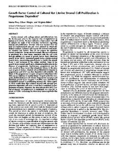 Growth Factor Control of Cultured Rat Uterine Stromal Cell ...