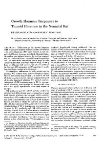 Growth Hormone Responses to Thyroid Hormone in the Neonatal Rat