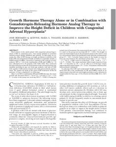 Growth Hormone Therapy Alone or in Combination with Gonadotropin ...