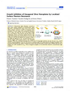 Growth Inhibition of Hexagonal Silver Nanoplates ... - ACS Publications
