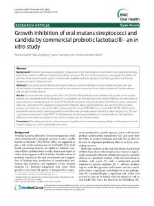 Growth inhibition of oral mutans streptococci and candida by ... - Core