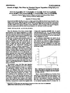 Growth of MgB2 Thin Films by Chemical Vapour Deposition Using ...