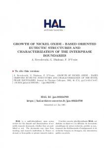 growth of nickel oxide - Hal