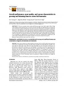 Growth performance, meat quality, and carcass