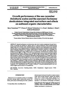 Growth performance of the sea cucumber Holothuria ... - Inter Research