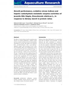 Growth performance, oxidative stress indices and ...