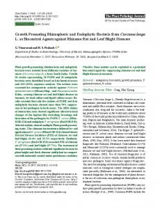 Growth Promoting Rhizospheric and Endophytic Bacteria from ...