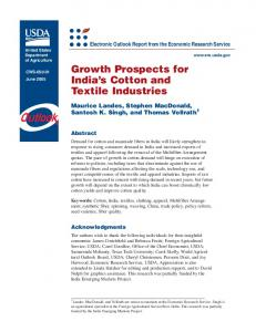 Growth Prospects for India's Cotton and Textile Industries - naldc - USDA