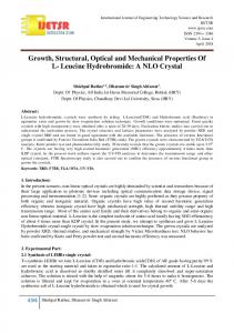Growth, Structural, Optical and Mechanical Properties