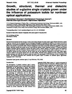 Growth, structural, thermal and dielectric studies of -glycine single ...