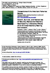 Growth, Survival, and Habitat Use of Naturally Reared and Hatchery ...