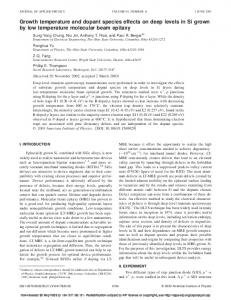 Growth temperature and dopant species effects on ... - Semantic Scholar