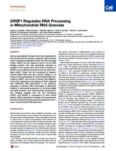 GRSF1 Regulates RNA Processing in Mitochondrial RNA ... - Cell Press