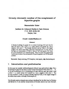 Grundy chromatic number of the complement of bipartite graphs 1 ...
