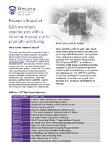 GSA members' experiences with a structured program to promote well