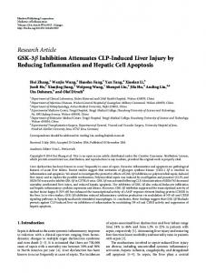 GSK-3 Inhibition Attenuates CLP-Induced Liver Injury by Reducing ...
