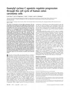 Guanylyl cyclase C agonists regulate progression through the cell ...