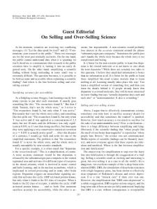 Guest Editorial On Selling and Over-Selling Science - University of
