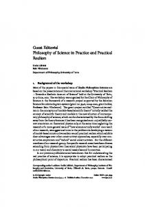 Guest Editorial Philosophy of Science in Practice and Practical Realism