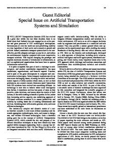 Guest Editorial Special Issue on Artificial Transportation ... - IEEE Xplore