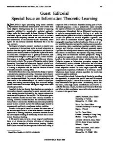Guest Editorial Special Issue on Information Theoretic ... - IEEE Xplore
