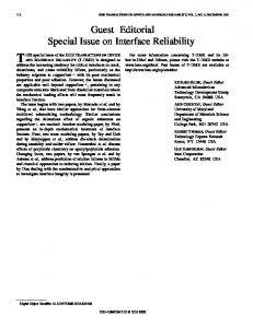 Guest editorial special issue on interface reliability ... - IEEE Xplore